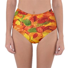 Leaves Texture Reversible High Waist Bikini Bottoms