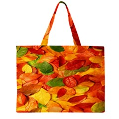Leaves Texture Zipper Large Tote Bag