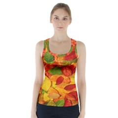 Leaves Texture Racer Back Sports Top