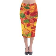 Leaves Texture Velvet Midi Pencil Skirt