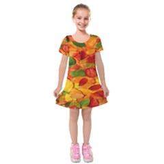 Leaves Texture Kids  Short Sleeve Velvet Dress