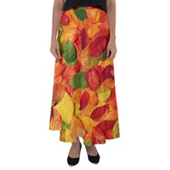 Leaves Texture Flared Maxi Skirt
