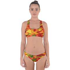 Leaves Texture Cross Back Hipster Bikini Set
