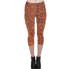 Crocodile Skin Texture Capri Leggings