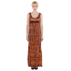 Crocodile Skin Texture Maxi Thigh Split Dress