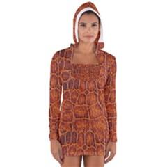 Crocodile Skin Texture Women s Long Sleeve Hooded T-shirt