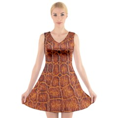 Crocodile Skin Texture V-Neck Sleeveless Skater Dress