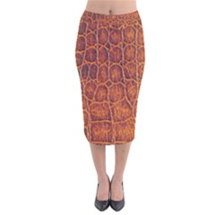 Crocodile Skin Texture Velvet Midi Pencil Skirt