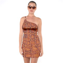 Crocodile Skin Texture One Soulder Bodycon Dress