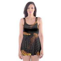 Gold Snake Skin Skater Dress Swimsuit