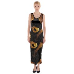 Gold Snake Skin Fitted Maxi Dress