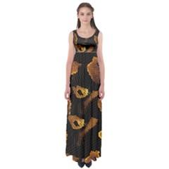 Gold Snake Skin Empire Waist Maxi Dress