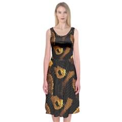 Gold Snake Skin Midi Sleeveless Dress
