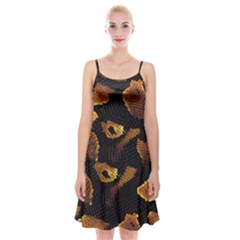 Gold Snake Skin Spaghetti Strap Velvet Dress