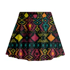 Bohemian Patterns Tribal Mini Flare Skirt