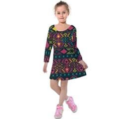 Bohemian Patterns Tribal Kids  Long Sleeve Velvet Dress