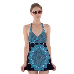 Ornate mandala Halter Swimsuit Dress