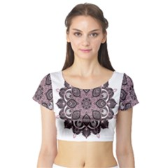 Ornate mandala Short Sleeve Crop Top (Tight Fit)