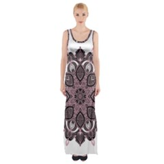 Ornate mandala Maxi Thigh Split Dress