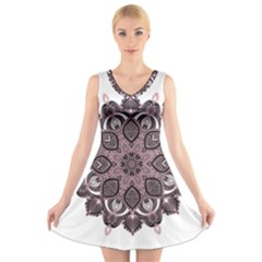 Ornate mandala V-Neck Sleeveless Skater Dress