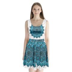 Ornate mandala Split Back Mini Dress