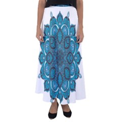Ornate Mandala Flared Maxi Skirt