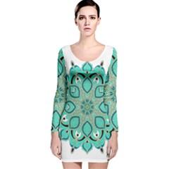 Ornate mandala Long Sleeve Velvet Bodycon Dress
