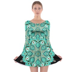 Ornate Mandala Long Sleeve Skater Dress
