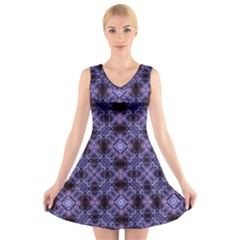 Lavender Moroccan Tilework  V Neck Sleeveless Skater Dress