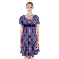 Lavender Moroccan Tilework  Short Sleeve V-neck Flare Dress