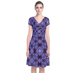 Lavender Moroccan Tilework  Short Sleeve Front Wrap Dress