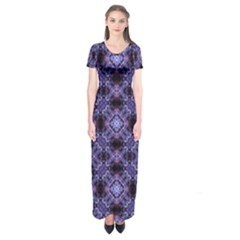 Lavender Moroccan Tilework  Short Sleeve Maxi Dress
