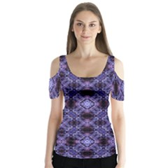 Lavender Moroccan Tilework  Butterfly Sleeve Cutout Tee