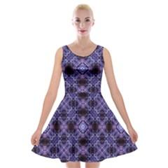 Lavender Moroccan Tilework  Velvet Skater Dress