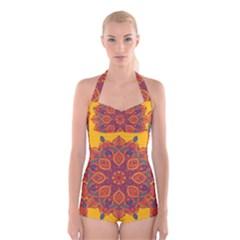 Ornate mandala Boyleg Halter Swimsuit