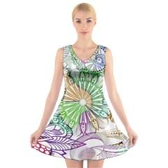 Zentangle Mix 1116c V-Neck Sleeveless Skater Dress