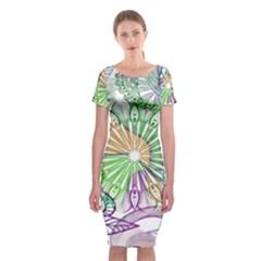 Zentangle Mix 1116c Classic Short Sleeve Midi Dress