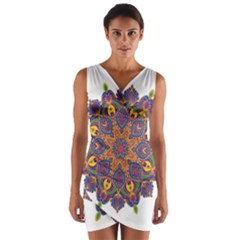 Ornate mandala Wrap Front Bodycon Dress