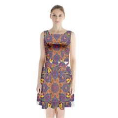 Ornate mandala Sleeveless Waist Tie Chiffon Dress