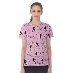 Elvis Presley  pink pattern Women s Cotton Tee