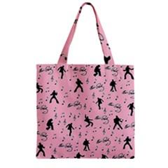 Elvis Presley  pink pattern Zipper Grocery Tote Bag