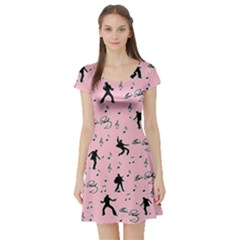 Elvis Presley  pink pattern Short Sleeve Skater Dress