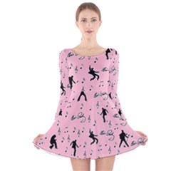 Elvis Presley  pink pattern Long Sleeve Velvet Skater Dress