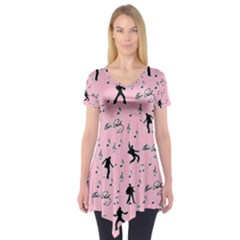 Elvis Presley  pink pattern Short Sleeve Tunic