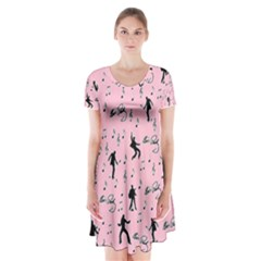 Elvis Presley  pink pattern Short Sleeve V-neck Flare Dress