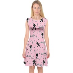 Elvis Presley  pink pattern Capsleeve Midi Dress