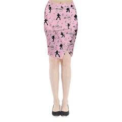 Elvis Presley  pink pattern Midi Wrap Pencil Skirt