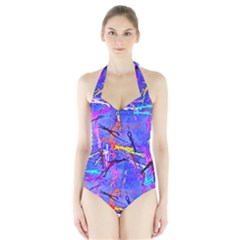 Paint splashes                       Women s Halter One Piece Swimsuit