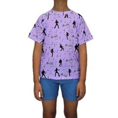 Elvis Presley  pattern Kids  Short Sleeve Swimwear