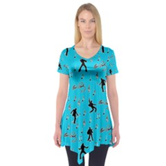 Elvis Presley  pattern Short Sleeve Tunic